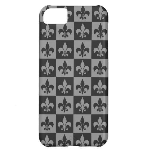 Black and Grey Fleur de lis iPhone 5C Cases