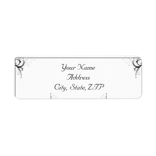 Black and Grey Floral and Scroll Return Address Label