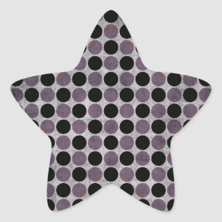 Black and grey grunge polka dots star stickers