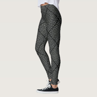 Black and Grey Modern Mosaic Diamonds Animal Print Leggings