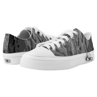 Black and Grey Poured Paint Low Tops