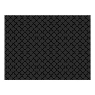 Black and Grey Quatrefoil Pattern Posters