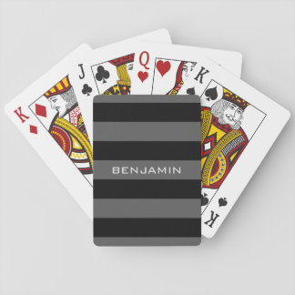 Black and Grey Rugby Stripes with Custom Name Playing Cards
