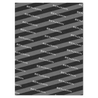 Black and Grey Rugby Stripes with Custom Name Tissue Paper