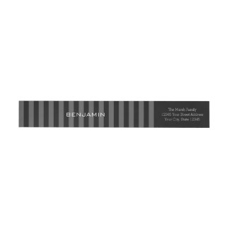 Black and Grey Rugby Stripes with Custom Name Wrap Around Label