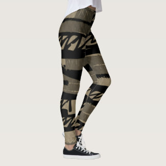 Black and Grey Scribble Leggings