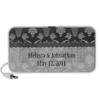 black and grey silver damask wedding keepsake laptop speakers