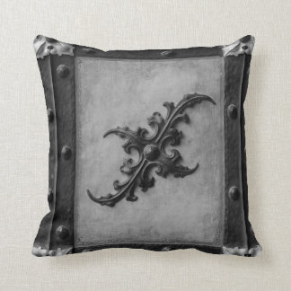 Black and grey silver  Steampunk Throw pillow