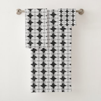 Black and Grey Starbust and Rhombus Pattern Bath Towel Set