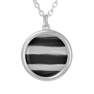 Black and Grey Stripes Personalized Necklace