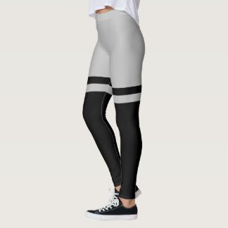 Black and Grey Thigh Striped Above the Knee Leggings