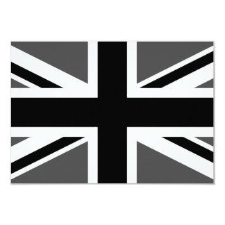 Black and Grey Union Jack 9 Cm X 13 Cm Invitation Card