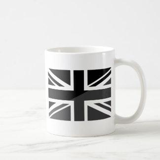 Black and grey Union Jack British(UK) Flag Basic White Mug