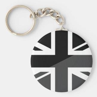 Black and grey Union Jack British(UK) Flag Key Chains