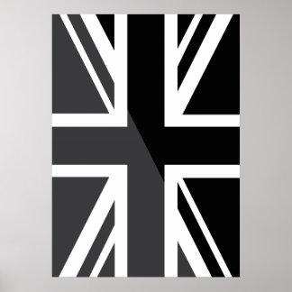 Black and grey Union Jack British UK Flag Posters