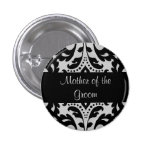Black and grey victorian damask mother of groom button