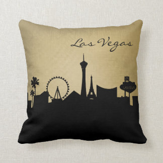 Black and Grunge Las Vegas Skyline Cushion