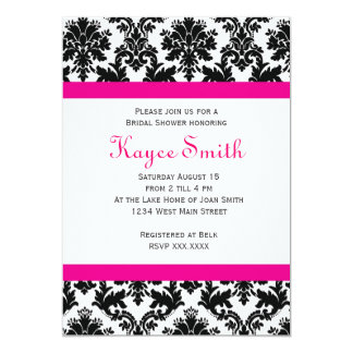 Black and hot Pink Damask Invitation