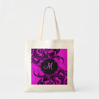 Black And Hot Pink Elegant Floral Swirls-Monogram Tote Bag