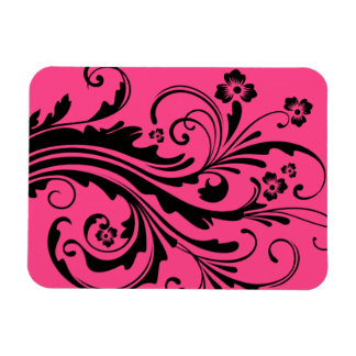 Black and Hot Pink Floral Chic Wedding Rectangle Magnets