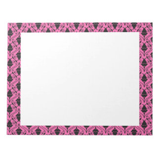 Black and Hot Pink Fuchsia Floral Damask Pattern Notepads
