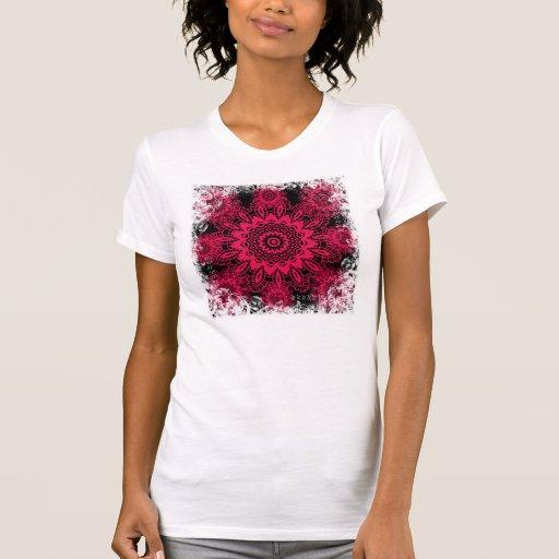 Black and Hot Pink Fuchsia Lace Snowflake Mandala Shirts