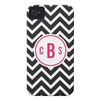 Black and Hot Pink Monogrammed Chevron Monogram iPhone 4 Case-Mate Case