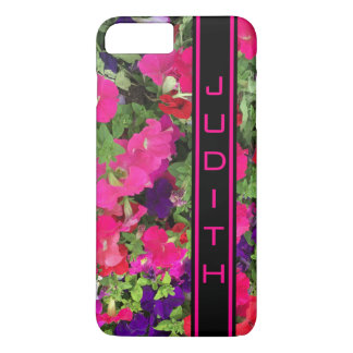 Black and Hot Pink Personalized Vertical Bar Photo iPhone 7 Plus Case