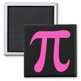 Black and hot pink pi symbol magnet