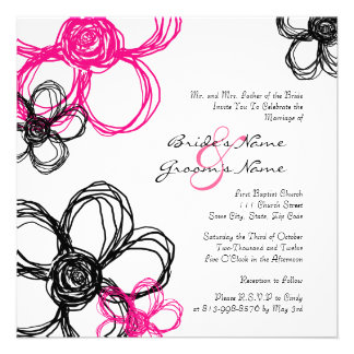 Black and Hot Pink Wild Flowers Wedding Invitation
