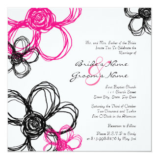 Black and Hot Pink Wild Flowers Wedding Invitation