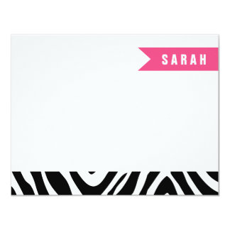 Black and Hot Pink Zebra Stripes Flat Note Cards