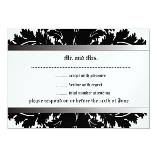 Black and Ice Damask RSVP cards Invite