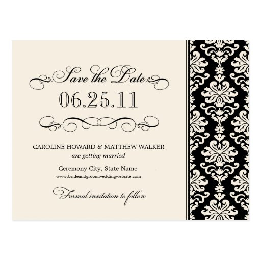 Black and Ivory Elegant Damask Save the Date Post Card
