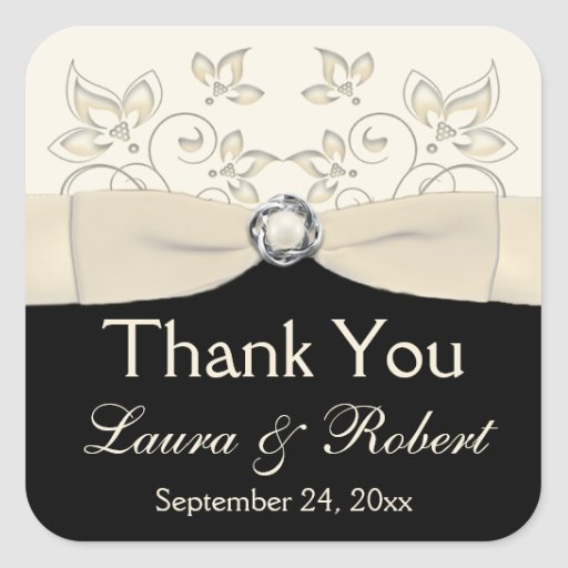 Black and Ivory Floral Thank You Sticker