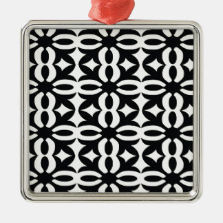 Black and Ivory Lace Silver-Colored Square Decoration