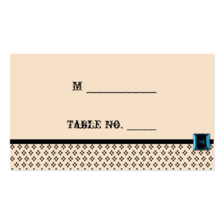 Black and Ivory Modern Damask Wedding Place Cards Business Card Template