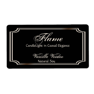 Black and Ivory Scallop Frame Candle Label Shipping Label