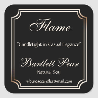 Black and Ivory Scallop Frame Candle Label v3 Square Sticker