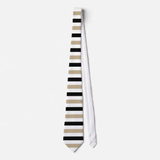 Black and Khaki Stripes Pattern Modern White Tie