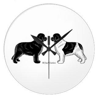 Black and Landseer Newfoundland Dog Wall Clock