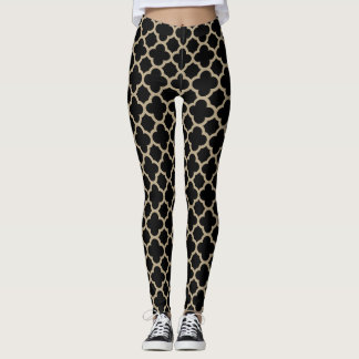 Black and Latte Quatrefoil Leggings