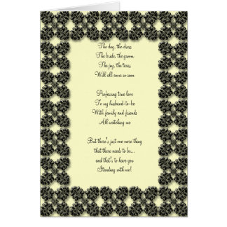 black and lemon Be my bridemaid card