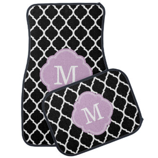 Black and Lilac Moroccan Quatrefoil Monogram Floor Mat