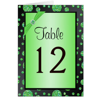 Black and Lime Glittery Dots Table Number Card