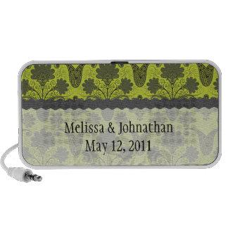 black and lime green damask wedding keepsake speakers