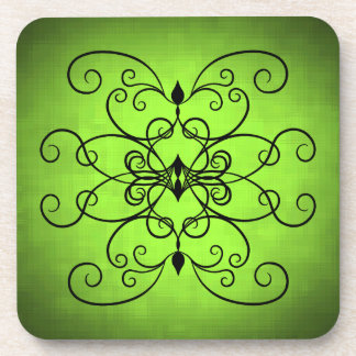 Black and lime green hearts and swirls drink coasters