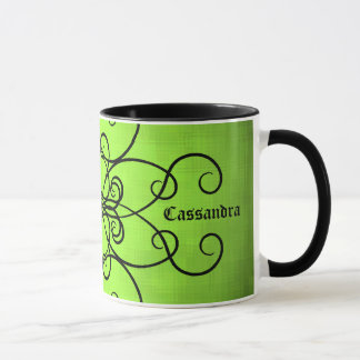 Black and lime green hearts and swirls mug