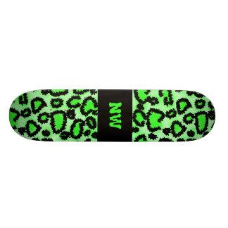 Black and Lime Green Leopard Print Pattern. 21.6 Cm Old School Skateboard Deck