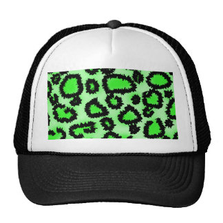 Black and Lime Green Leopard Print Pattern. Cap